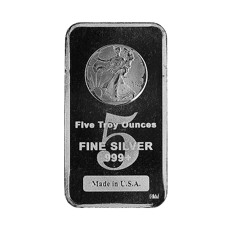 goldsilver.com - 5 oz Walking Liberty Silver Bar Front