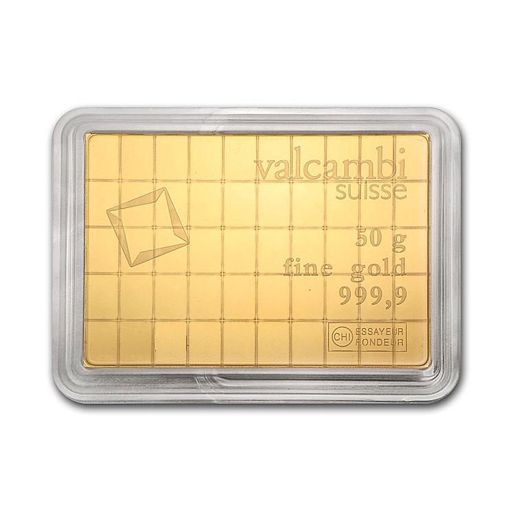 goldsilver.com - 50 Gram Valcambi Gold CombiBar Front