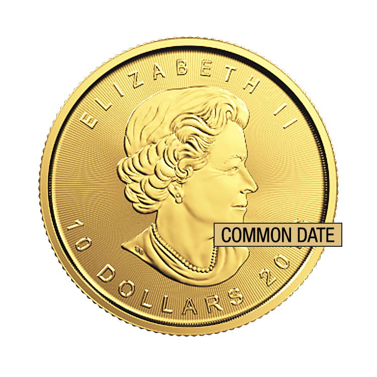 goldsilver.com - 1/4 oz Canadian Gold Maple Leaf Coin (Common Date) Front