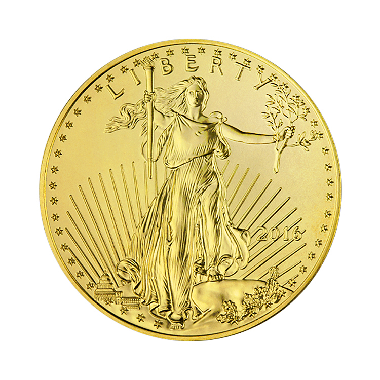goldsilver.com - 1/2 oz American Gold Eagle Coin (2016) Front