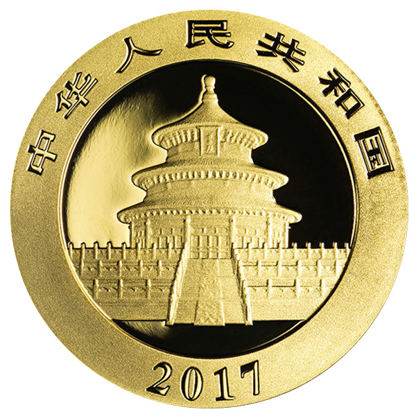 goldsilver.com - 15 gram Chinese Gold Panda Coin (2017) Front