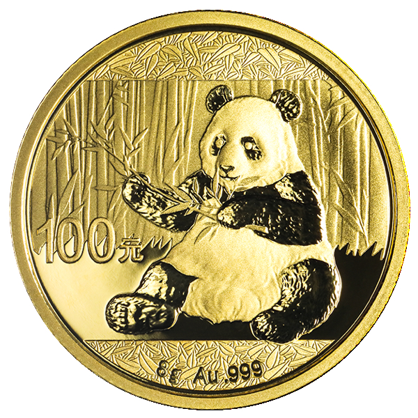 goldsilver.com - 8 gram Chinese Gold Panda Coin (2017) Back