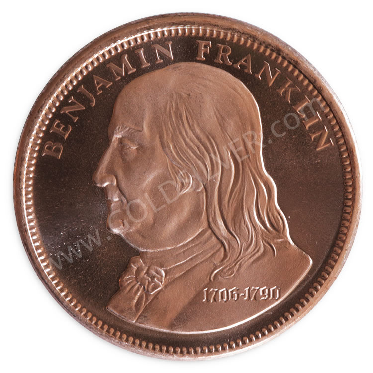 Benjamin Franklin Copper Round 1 Oz For Sale At Goldsilver 174