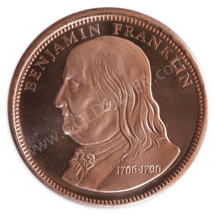 Benjamin Franklin Copper Round 1 Oz For Sale At Goldsilver 174