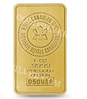 goldsilver.com - Royal Canadian Mint Gold Bar 1 oz Front