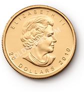 goldsilver.com - 2016 1/2 oz Canadian Gold Maple Leaf Coin Front