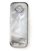 goldsilver.com - Johnson Matthey Silver Bar 100 oz Front