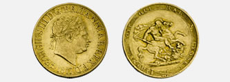 Photo of the First British Gold Sovereign Coin