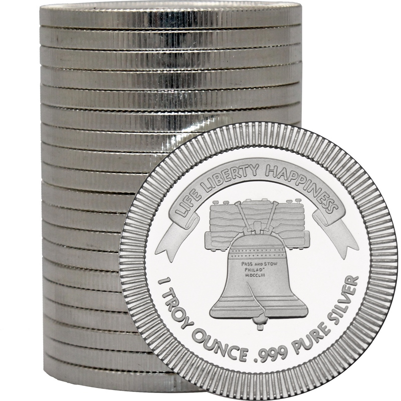 View of Liberty Bell Silver Round Stack