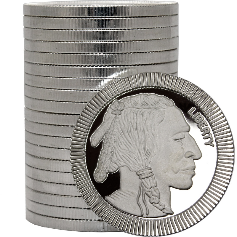 View of Buffalo Silver Round Stack