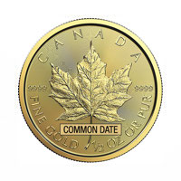 1/2 oz Canadian Gold Maple Leaf Coin (Common Date)