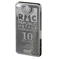 10 oz Republic Metals Corporation Silver Bar - Front View
