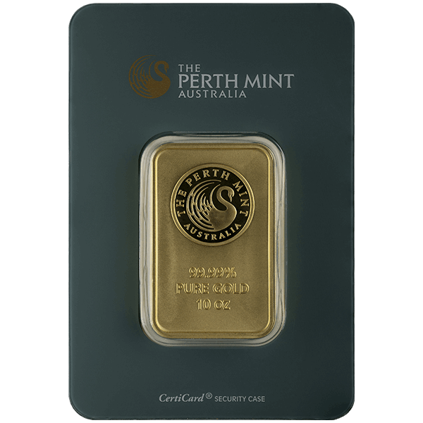 10 oz Perth Mint Gold Bar - Front View