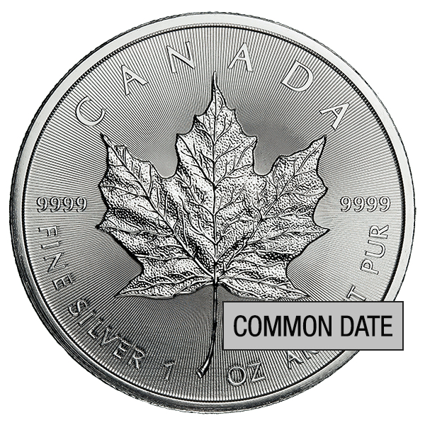 1 oz Canadian Silver Maple Leaf Coin (Common Date)