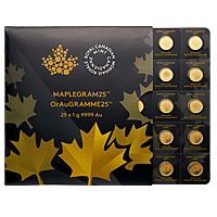 25 gram Gold Canadian Maplegram