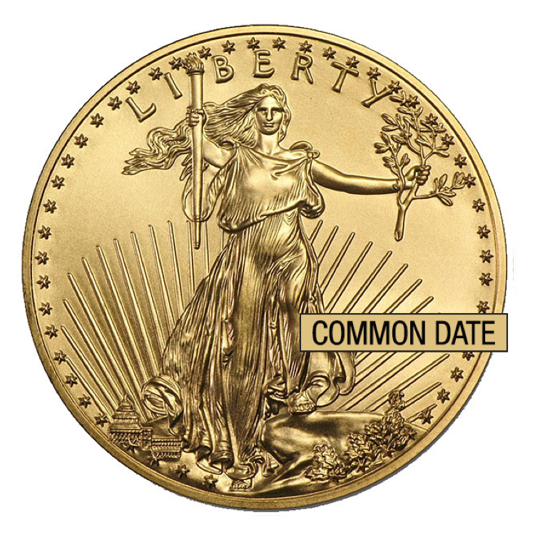 1 oz American Gold Eagle Coin (Common Date) - Front View
