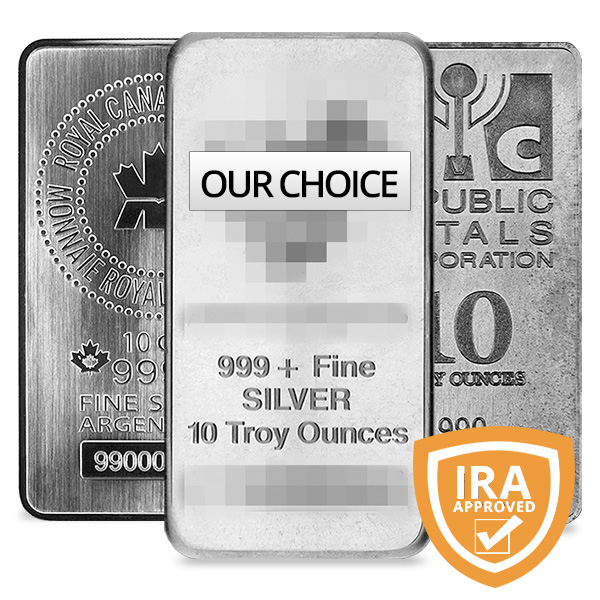 10 oz Silver Bar from One of Our Preferred Mints - Front View