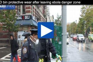 nypd stunner - cops exit ebola victim apartment, dump gloves, masks in public sidewalk trash can