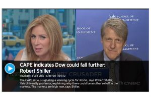 robert shiller - cape indicates dow could fall further
